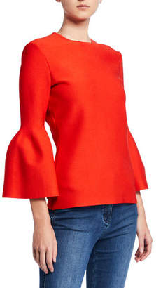 St. John Sculptural Milano Knit 3/4 Bell-Sleeve Top