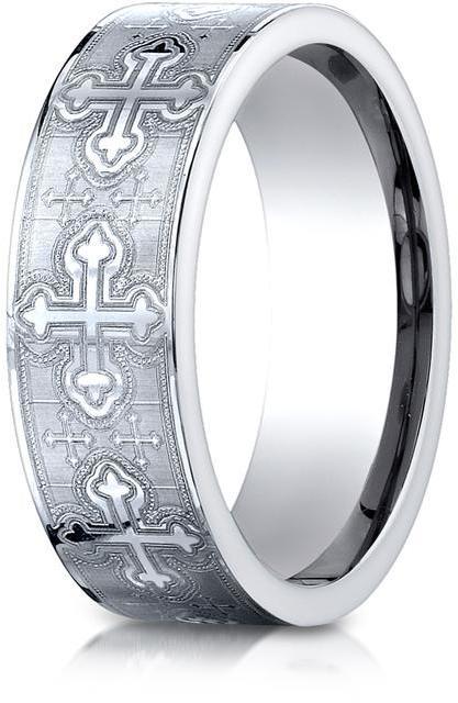 Benchmark Cobalt 7mm Comfort-Fit Cross Design Ring