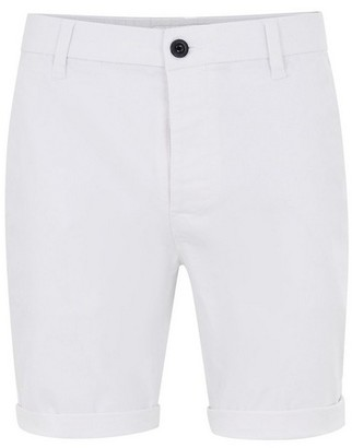 Topman Mens White Stretch Skinny Chino Shorts