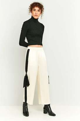 Light Before Dark Striped Tie Side Straight Leg Trousers
