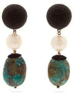 Rebecca De Ravenel Mini Treasures Turquoise Drop Clip Earrings - Womens - Blue Multi