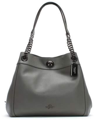Coach Turnlock Edie Heather Grey Polished Pebbled Leather Shoulder Bag