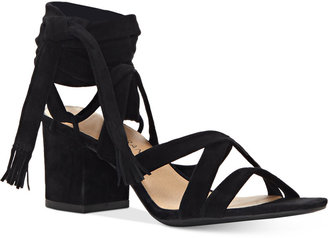 Lucky Brand Idalina Lace-Up Block-Heel Sandals Women's Shoes $109 thestylecure.com