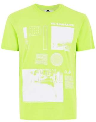 Topman Mens Lime Green Harajuku T-Shirt