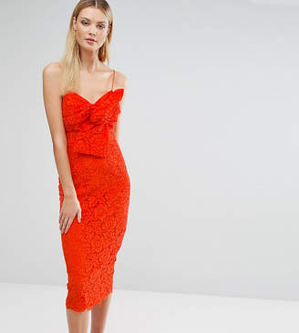 Asos Tall TALL Lace Cami Bow Front Midi Pencil Dress