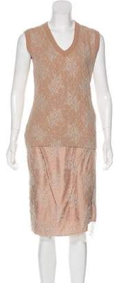 Louis Vuitton Lace-Accented Midi Dress