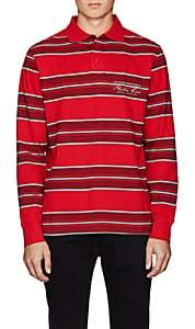 Martine Rose Men's Striped Cotton Piqué Polo Shirt - Red