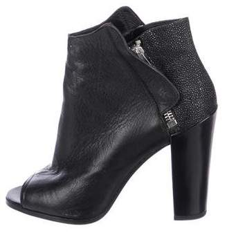 Dolce Vita Embossed Leather Peep-Toe Ankle Boots