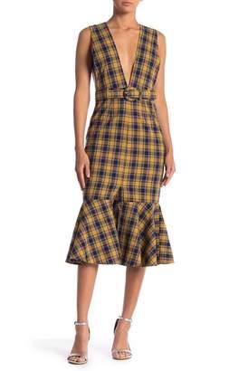 Love + Harmony Plaid V-Neck Ruffle Hem Midi Dress
