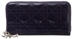 Christian Dior  Lady Dior Patent Leather Zip Around Wallet