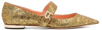 Rochas Mary Jane Brocade Flats - Womens - Gold