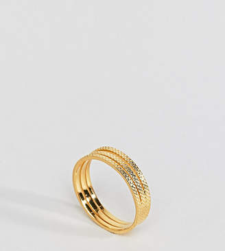Asos Gold Plated Sterling Silver Triple Row Etched Band Ring