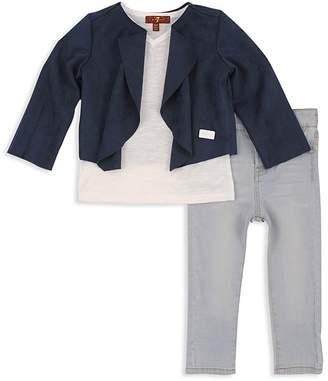 7 For All Mankind Girls' Faux-Suede Jacket, V-Neck Tee & Skinny Jeans Set - Little Kid