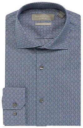 Perry Ellis Slim Fit Stretch Diamond Check Dress Shirt
