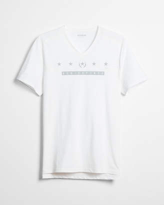Express Contrast Yoke V-Neck Graphic Tee