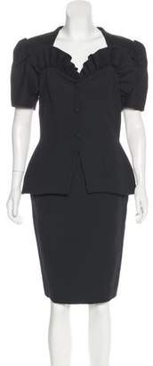Vicky Tiel Ruffle-Trimmed Skirt Suit