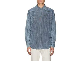 DSQUARED2 Men's Striped Cotton Chambray Western Shirt
