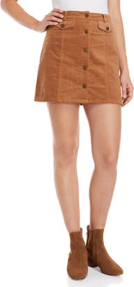 Fashion On Earth Button-Front Corduroy Mini Skirt