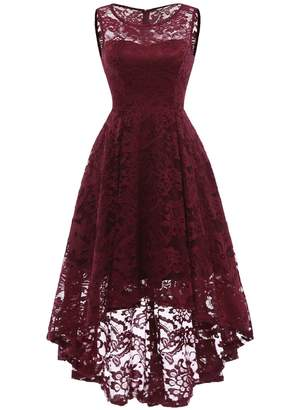 MUADRESS CMUA6006 Vintage Floral Lace Sleeveless Hi-Lo Cocktail Formal Swing Dress XL