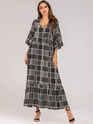 b56fd3555e Shein Polka Dot & Geometric Print Ruffle Hem Maxi Dress