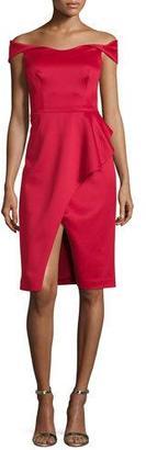 Black Halo Off-the-Shoulder Draped Stretch Satin Sheath Dress, Molten $460 thestylecure.com