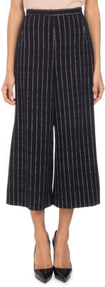 Andrew Gn Metallic-Pinstripe Wide-Leg Cropped Pants