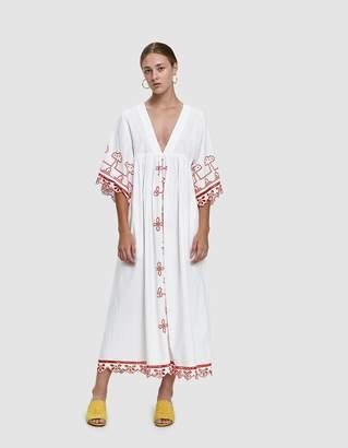 Ganni Peony Embroidered Eyelet Dress