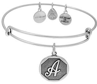 Alex and Ani Silvertone Initial Charm Bangle