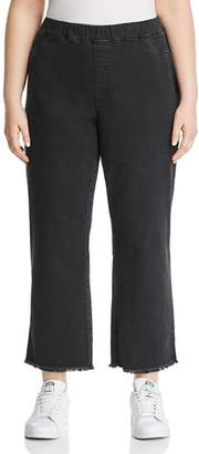Eileen Fisher Plus Frayed Cropped Legging Jeans in Washed Black