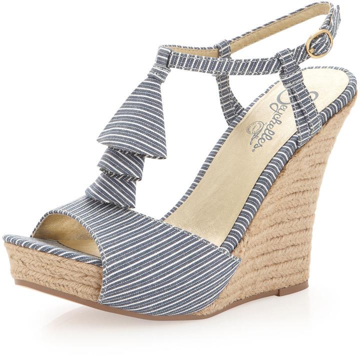 Seychelles How Do You Do Striped Wedge Sandal, Navy