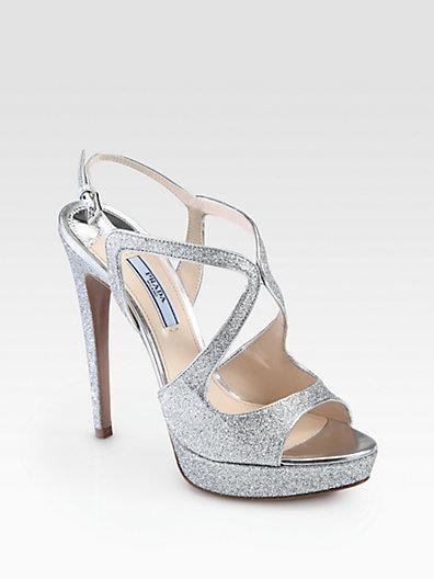 Prada Glitter Strappy Platform Sandals