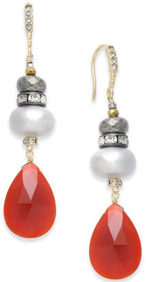 Paul & Pitu Naturally Two-Tone Pave, Imitation Pearl & Red Stone Drop Earrings