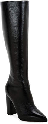 Valentino Ring Rockstud Patent Knee Boots