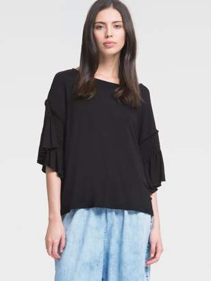 DKNY Jersey Top With Three-Quarter Length Bell Sleeve