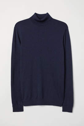 H&M Merino Wool Turtleneck Sweater - Blue