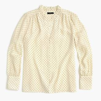 J.Crew Petite silk ruffle-neck blouse in dot