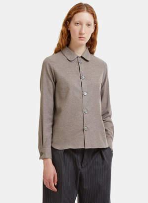 BEIGE École de Curiosités Benjamin Round Collar Melton Shirt