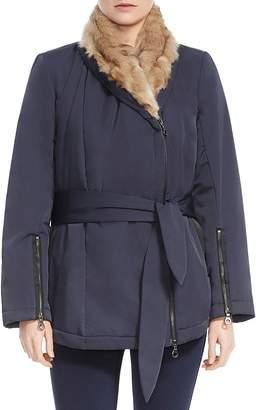 Halston Faux Fur-Lined Wrap Coat