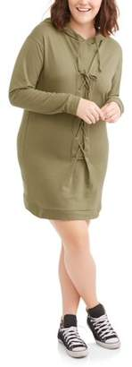 POOF Juniors' Plus Long Sleeve Lace-Up Sweatshirt Dress