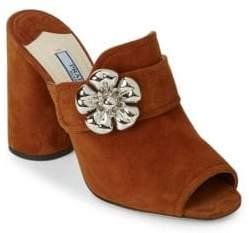Prada Embellished Leather Block Heel Pumps