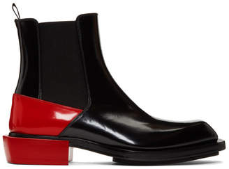 Alexander McQueen Black and Red Half Chelsea Boots