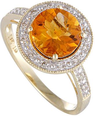 Generic Gemstones 14K Diamond & Citrine Ring