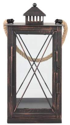 STONEBRIAR COLLECTION Stonebriar Decorative Oil Rubbed Bronze Metal Hurricane Candle Lantern with Rope Handle - Indoor or Outdoor Use