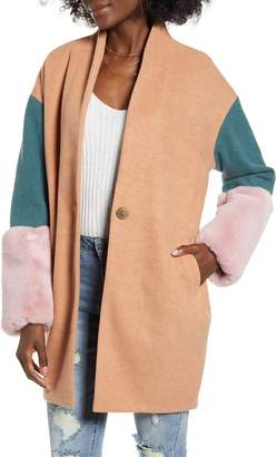 Blank NYC Blanknyc Out of Office Faux Fur Cuff Coat