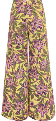 REDValentino - Floral-print Stretch-cotton Wide-leg Pants - Yellow $595 thestylecure.com