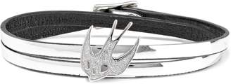 McQ Swallow Appliqued Mirrored-leather Wrap Bracelet