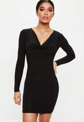 Missguided Black Cowl Neck Bodycon Dress