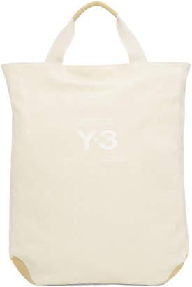 Y-3 White Canvas Logo Tote