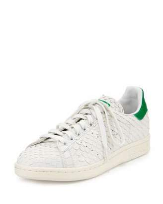 Adidas Stan Smith Snake-Cut Leather Sneaker, Crystal White/Green $115 thestylecure.com