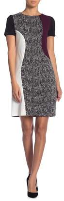 Taylor Mixed Fabric Shift Dress